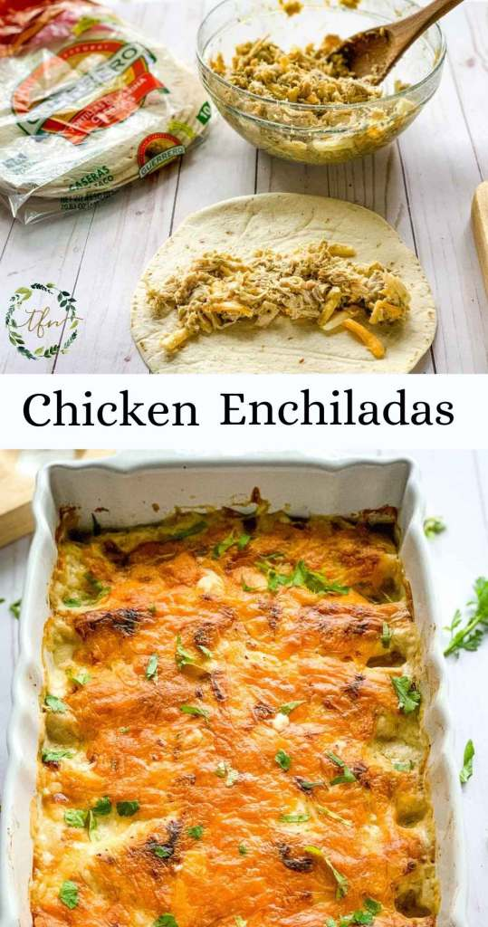 A photo showing the preparation and finished creamy chicken enchiladas casserole