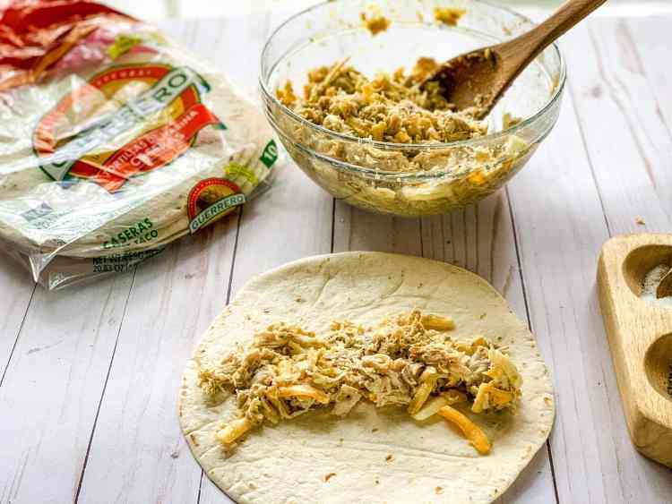 creamy chicken enchiladas prep