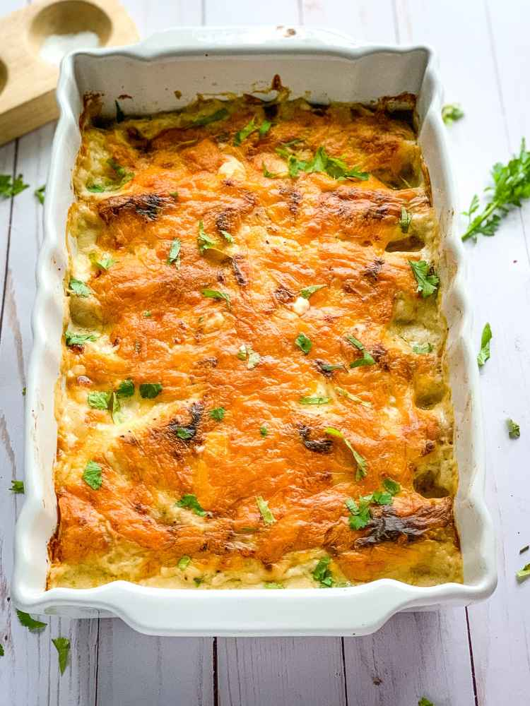 Creamy Chicken Enchiladas for Cook Once Eat All Week meal prepping and an easy dinner recipe