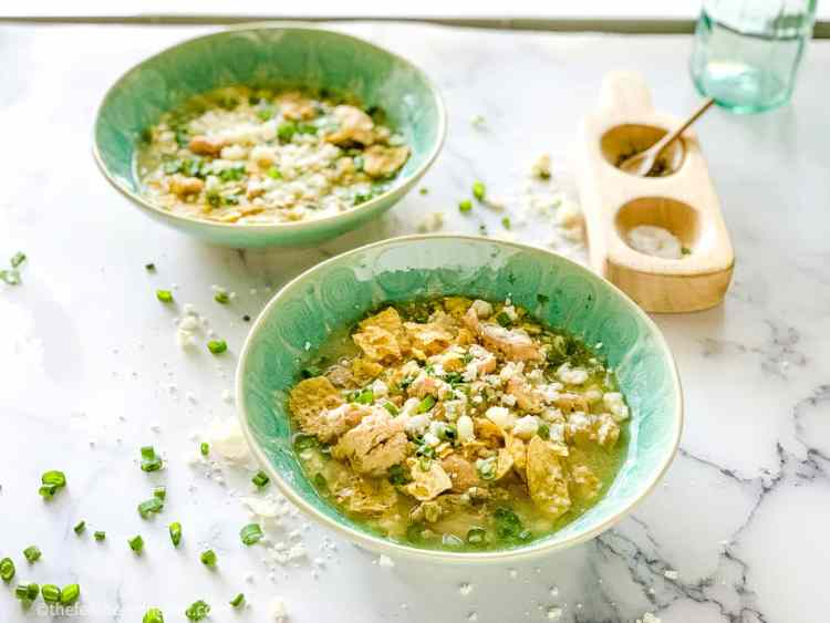 Two bowls of Instant Pot Chicken Posole Verde