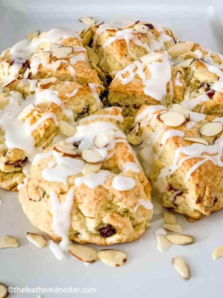 close up of cranberry almond scones recipe