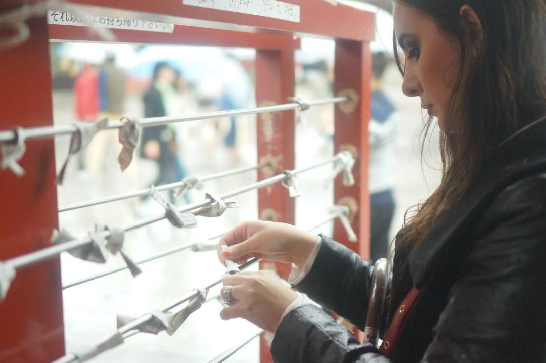 O-mikuji, or fortune strips, at Asakusa Shrine