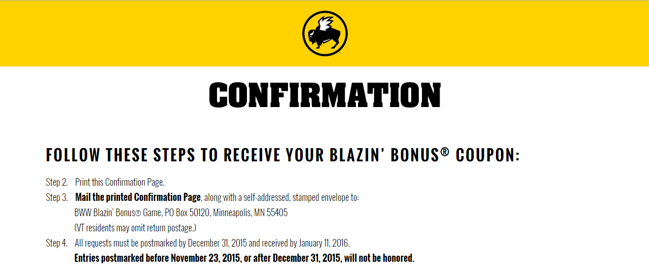 Possible FREE Buffalo Wild Wings $5 off or more Coupon