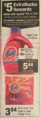CVS Tide Pods as low as $0.69 each (ends today)