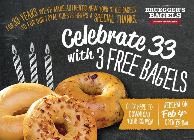 Claim 3 FREE BAGELS from Bruegger's on 2/4