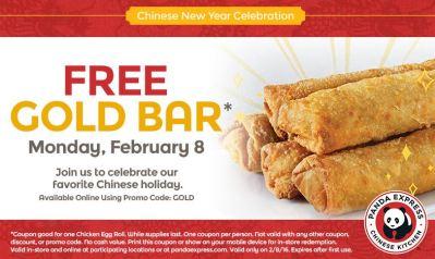 Panda Express Free Gold Bar on 2/8 only