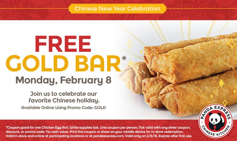 Panda Express Free Gold Bar on 2/8 only