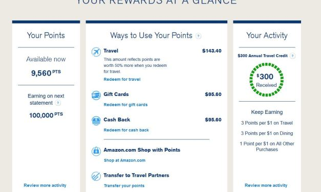 Chase Sapphire Reserve Bonus points of 100k ready to be received on next statement