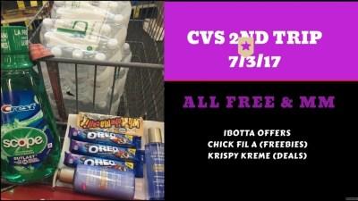CVS 7/3/17 (2nd trip) FREE & MM – Chick Fil A / Krispy Kreme Offers too