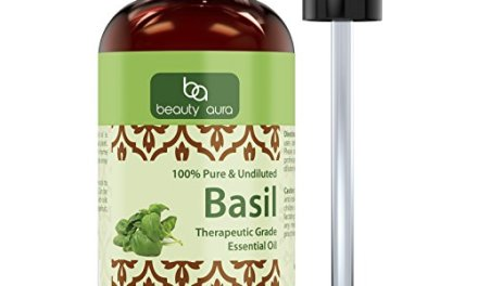 Beauty Aura Basil Essential Oil – 4 Oz Bottle – 100% Pure, Undiluted Therapeutic Grade Oil – Ideal For Aromatherapy – Great Quality Great Value!