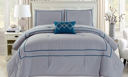 Empire Home 4 Piece Solid Lisa Comforter Set 21078 – All Sizes (Full Size, Gray/navy)