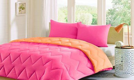 Intelligent Design Trixie Reversible Down Alternative Comforter Mini Set, Full/ Queen, Pink/ Orange