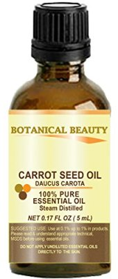 "CARROT SEED Essential Oil 100% Pure/ Undiluted/ Steam Distilled. 0.17 Fl.oz.- 5 ml. ""One of the best skin revitalizing essential oils"" by Botanical Beauty."