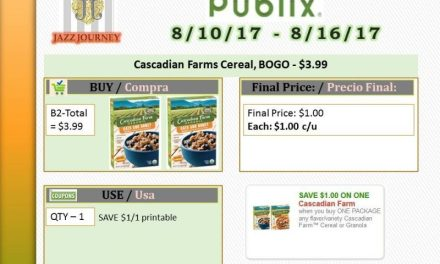 Publix: Cascadian Farm Cereal (upcoming ad 8/10) as low as $1.00