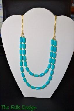 Repurposed Aqua and Gold Multi-Strand Statement Necklace