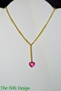 Pink Czech Glass Heart Charm Y-Necklace