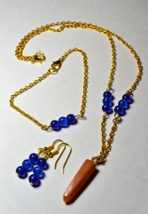 Blue Grotto Set - gold chain with blue Czech glass beads and gemstone pendant
