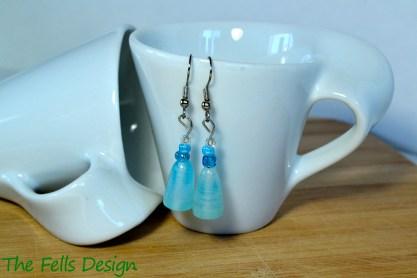 Blue glass beaded earrings