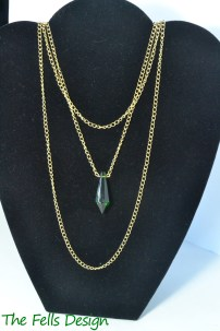 Green Glass Pendant Multi-Strand Chain Necklace