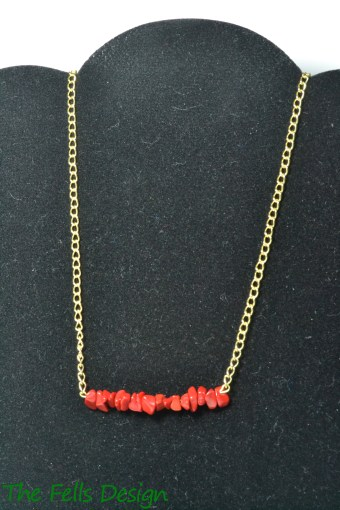 Coral and Gold Bar necklace