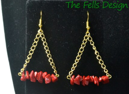 Coral and gold chain chandelier triangle earrings