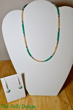 Aqua and cream Czech glass necklace and hand-wrapped earrings