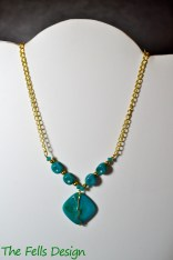 Repurposed Turquoise and Gold Statement Necklace