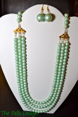 Repurposed costume jewelry mint multi-strand necklace and earrings jewelry set