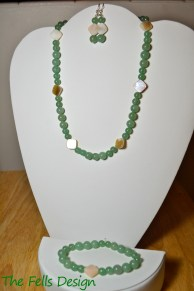Green Jade and Mother of Pearl Necklace, Bracelet, and Earrings