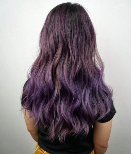 Ash Purple Ombre Hairstyle