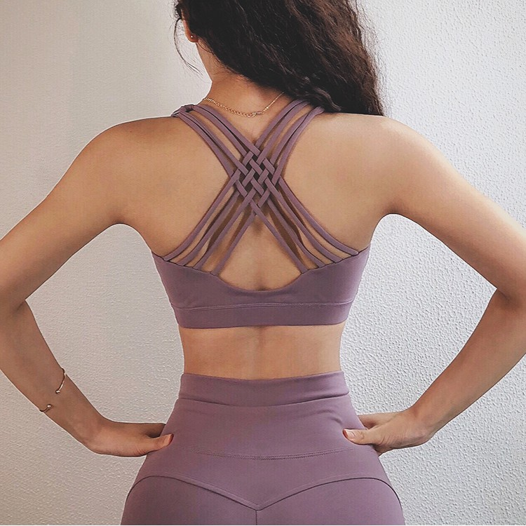 Moving Peach Padded Criss Cross Yoga Top Workout Bra from back