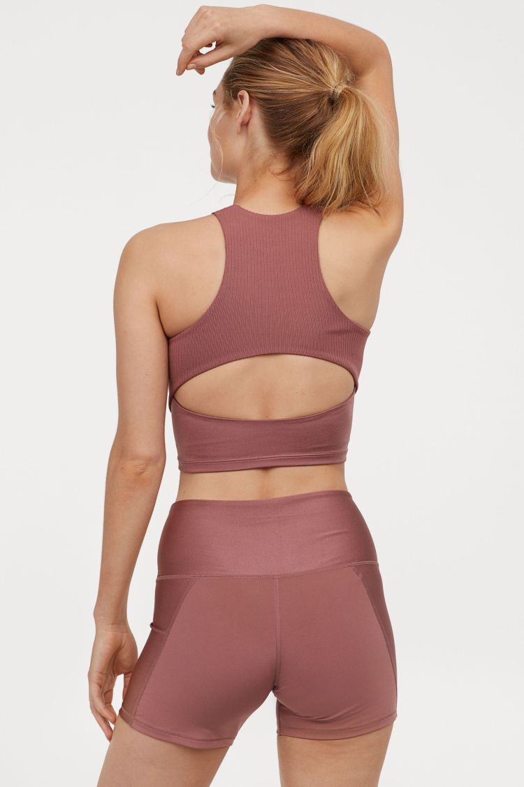 H&M Sports Fitness Workout Bralette in Pink Open Hole Back