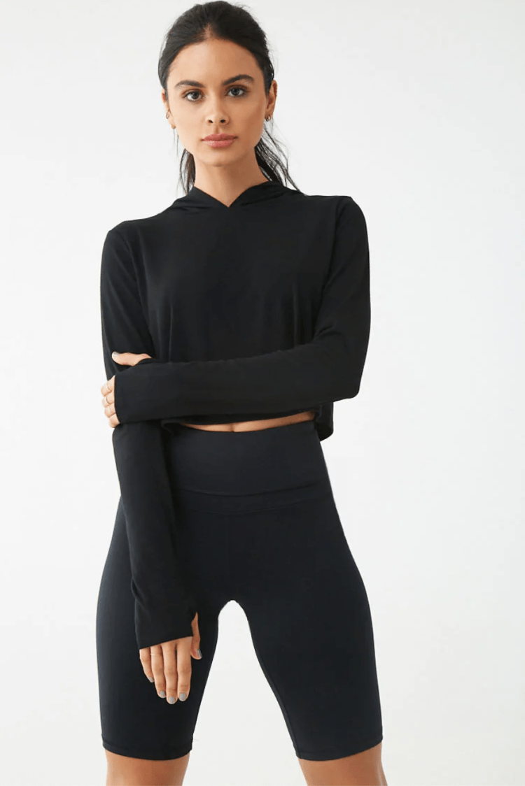 Forever 21 Active Hooded Long Sleeve Top
