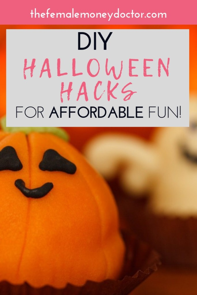title picture of a pumpkin cake for cheap diy halloween hacks for affordable fun