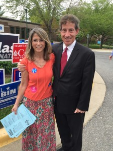 The author handing out literature at a polling place during early voting, with Jamie Raskin, a Democrat running for the US Congress in Maryland.