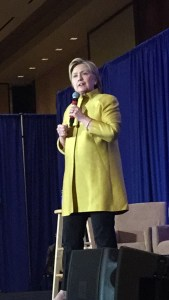 Hillary Clinton speaks at fundraising event attended by the author.