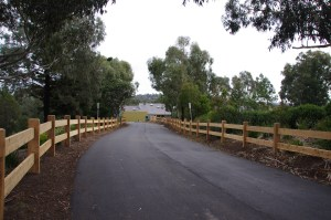 timber post and rail fence,