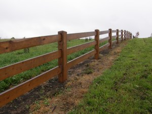 timber post and rail fence, farm fence,