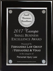 2017 Tampa Small Business Excellence Award for Personal Injury Law