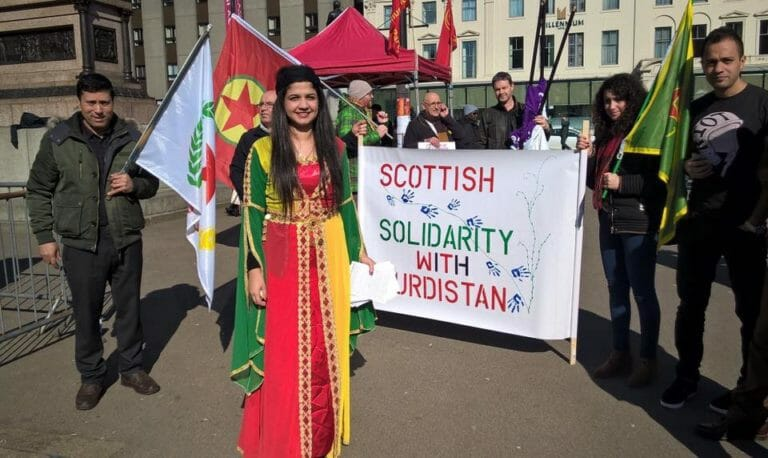 Roza Salih in Kurdish dress at an anti-racist rally in Glasgow last month.