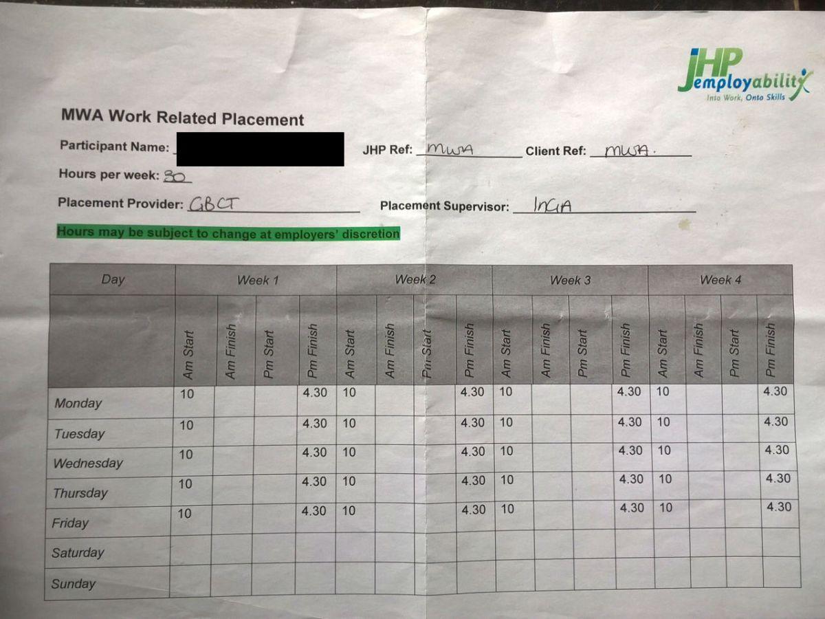GBCT Redacted MWA Time sheet