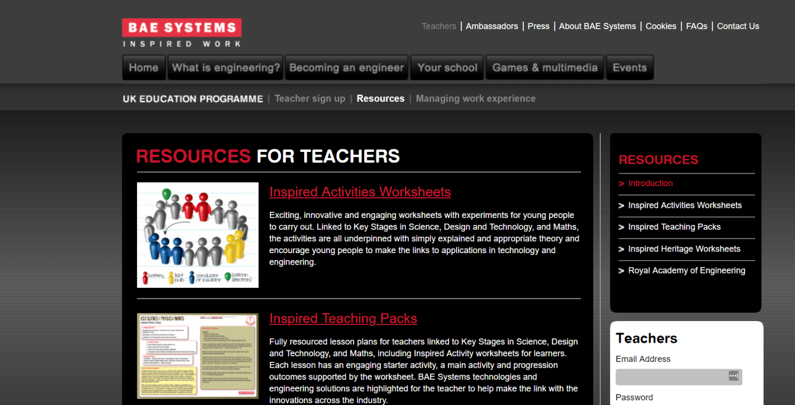 Screen grab from BAE website showing resources for schools