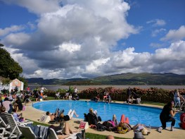 The pool offers great views of Snowdonia