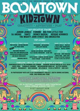 Boomtown Chapter 10 2018 Diss-order Alley Line-up Poster: KidzTown