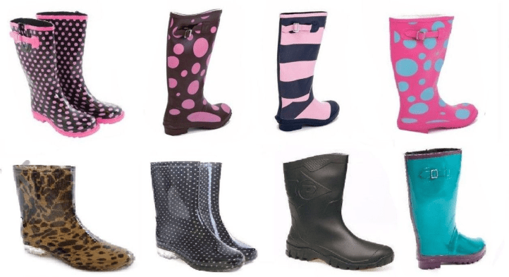 Mixed designs of womens festival wellies