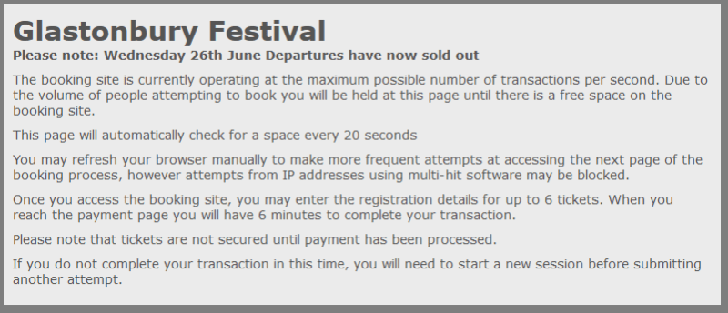 Glastonbury tickets sold out