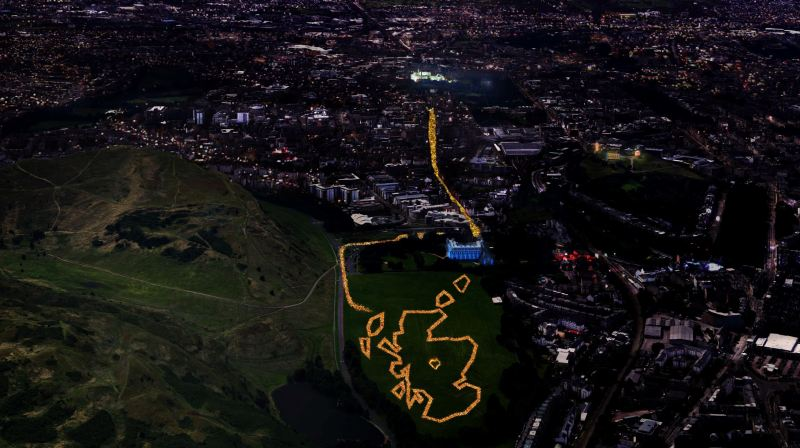 Scotland Outline Edinburgh Hogmanay Torchlight Procession Map