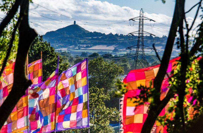 Glastonbury Festival Tor Flags