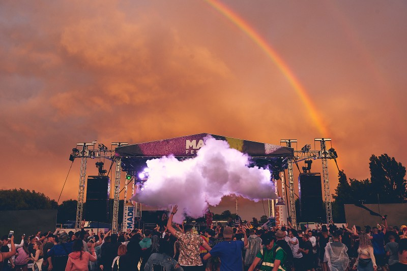 MADE Festival Rainbow Smoke Orange Sky