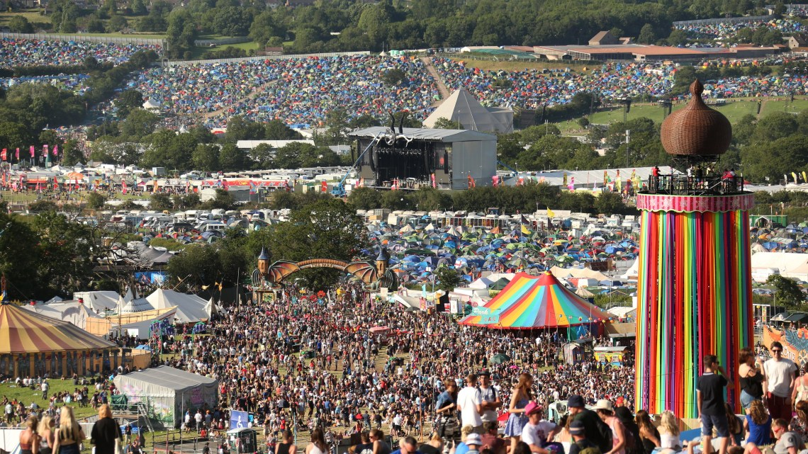 Glastonbury Ribbon Tower Panorama Other Stage